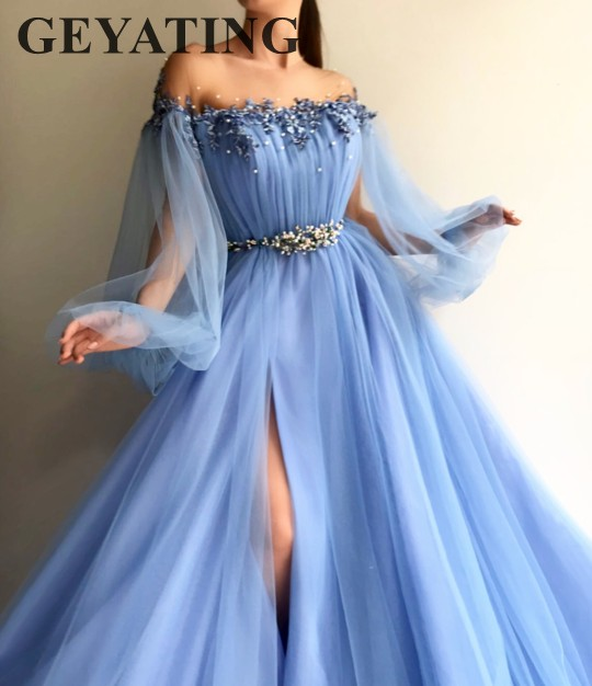 Elegant Blue Long Sleeves Prom Dresses 2018 Off the Shoulder Beaded Crystal High Side Slit Tulle Formal Dress Women Evening Gown