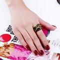 Florescimento temporada segredo de beleza Europeu High fashion Hit Preto banhado a ouro anéis para as mulheres de luxo loja do feriado