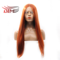 DLME Natural Hairline Straight Synthetic Lace Front Wig Glueless Resistant Fiber Hair Half Hand Tied Women Wigs