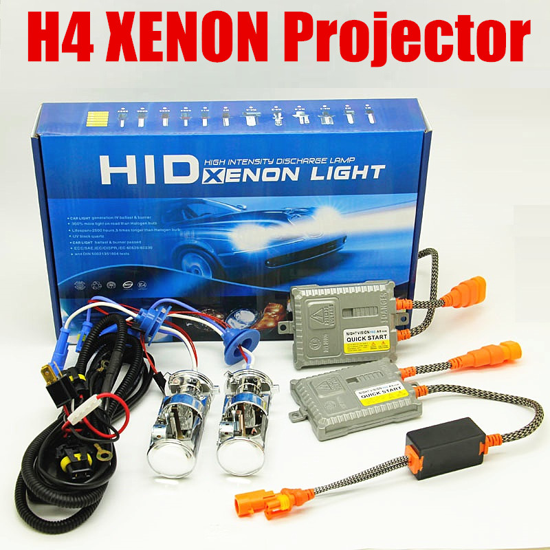 цена на 55W Xenon H4 hid lens HID Bulb Hi/Lo Beam projector Light Car Headlight 4300K 6000K