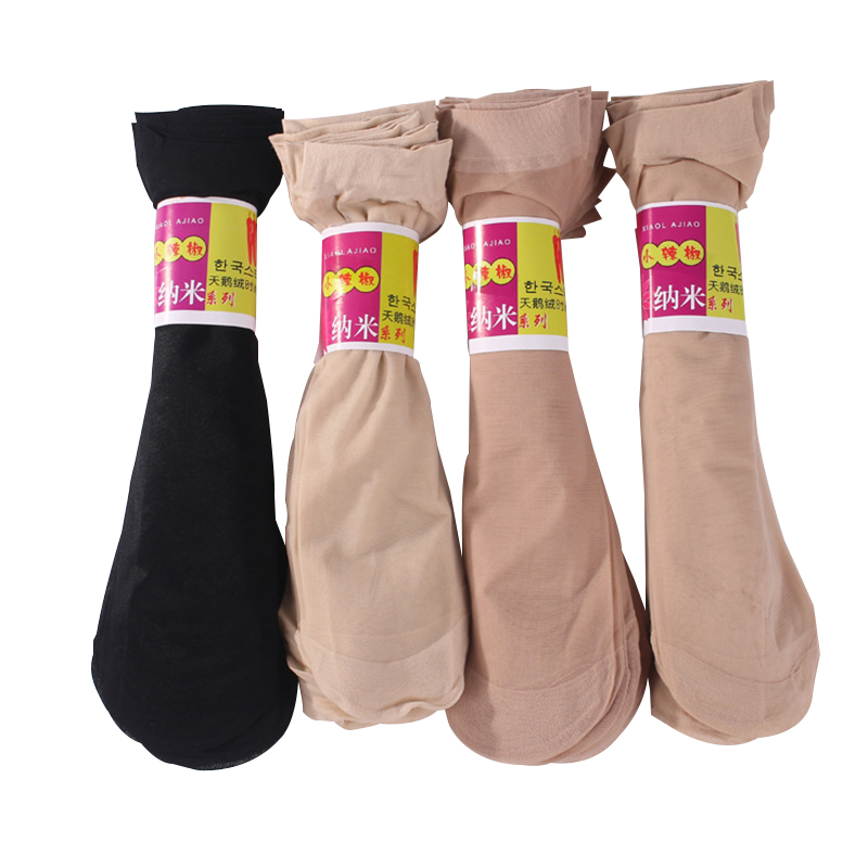 summer women sexy ultrathin elastic silk   socks   female velvet short silk   socks   ladies black nylon thin   socks   20pairs/lot