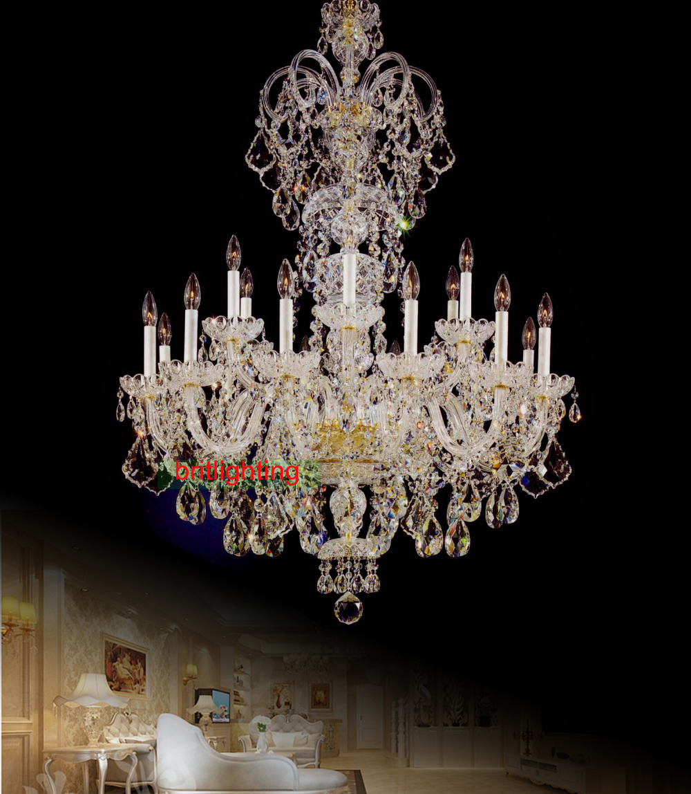 Large crystal chandelier entrance hall lighting Luxury crystal light ...