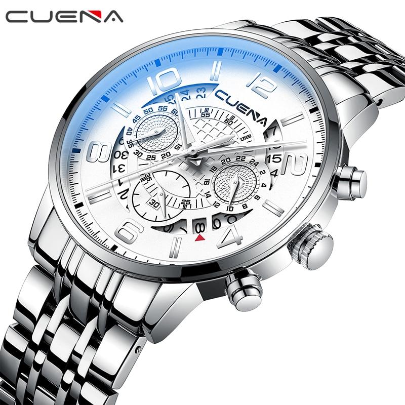 купить CUENA Fashion Men Quartz Watch Man Clock Mens Watches Top Brand Luxury Waterproof Stainless Steel Wristwatches Relogio Masculino по цене 1572.08 рублей