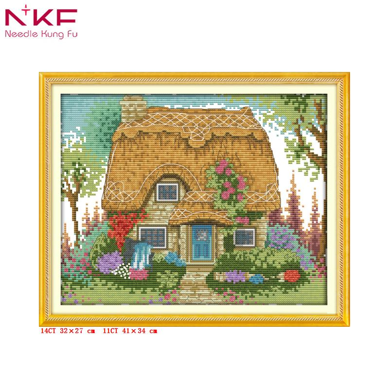 A thatched hut with flowers Joy Sunday Cross Stitch DMC Sets For Embroidery kit needle accesories for Home Decoration