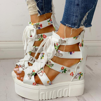 INS Hot Print Leisure Wedges women's Shoes 2019 Summer Shoes women Sandals Platform Shoelaces High Heels Casual Shoes Woman Πλατφόρμες Παπούτσια MSOW