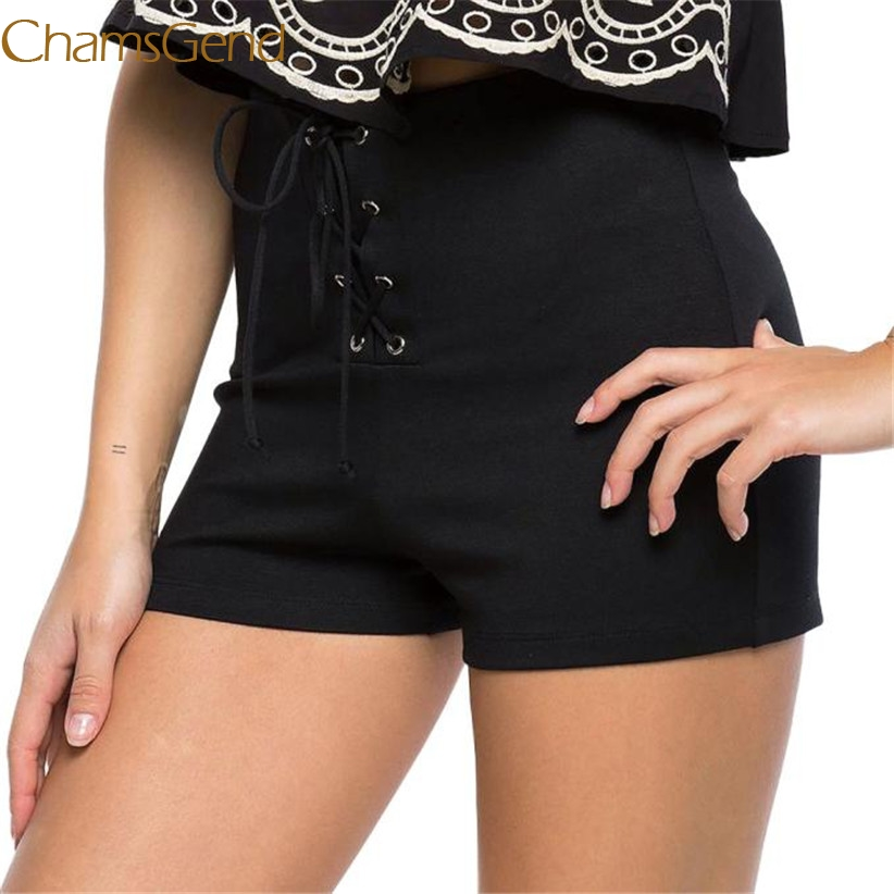 Chamsgend Newly Design Women Fashion Drawstring High Waist Black   Shorts   160629 Drop Shipping
