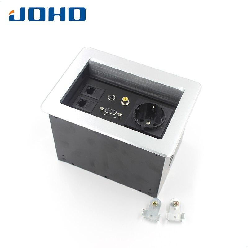 JOHO 16A Power Socket Electrical Outlet European socket, 2 Datas, VGA, Vedio Socket Lift Cover Open Type Tabletop Socket цена 2017