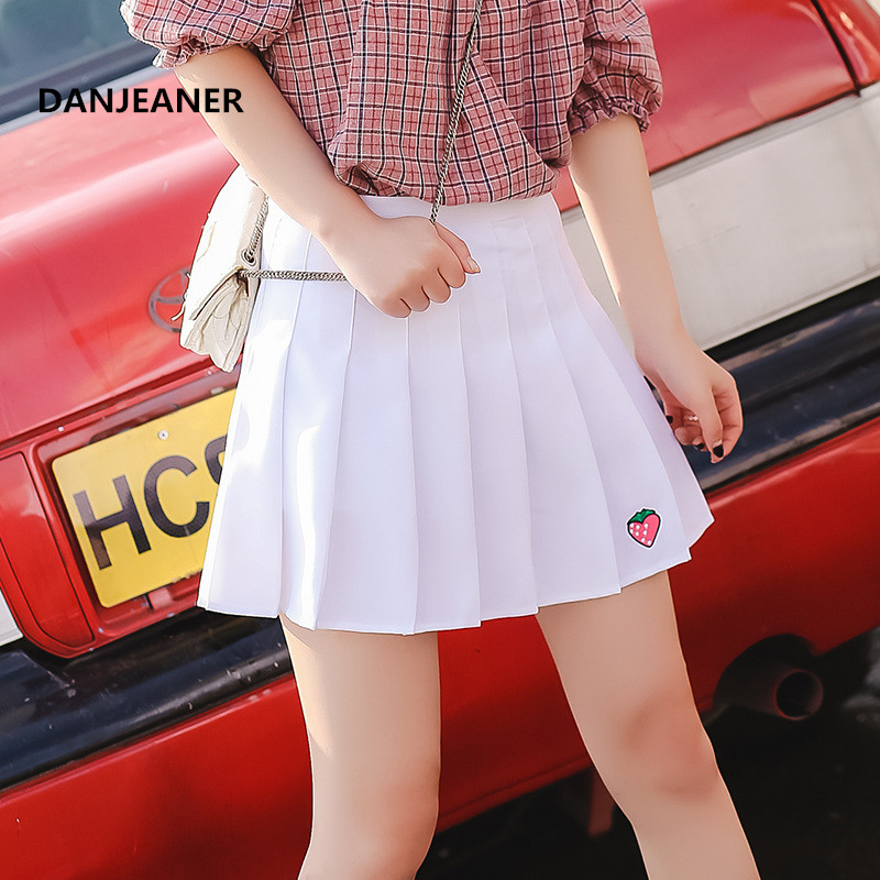 Danjeaner 2019 High Waist Pleated Skirt Anime Cosplay School Uniform Strawberry Embroidered Pleated Skirt For Girl Jupe Femme