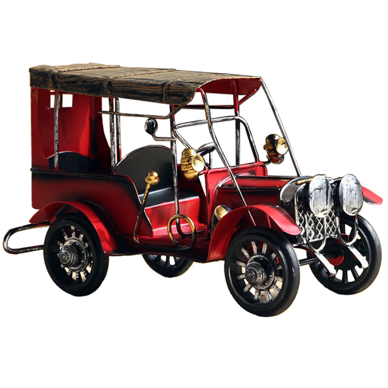 Retro Nostalgia Iron Crafts Metal Antique Car Model Desktop Figurines Child Car Toy Birthday Gift Home Decor American Ornaments