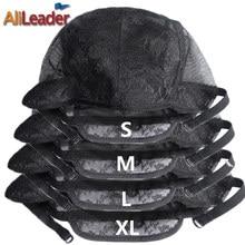 최고의 XL/L/M/S 조정 가능한 직조 모자 가발 만들기, 더블 레이어 레이스가 발 모자 판매, 검은 Hairnet 나일론가 발 모자 10 개/몫