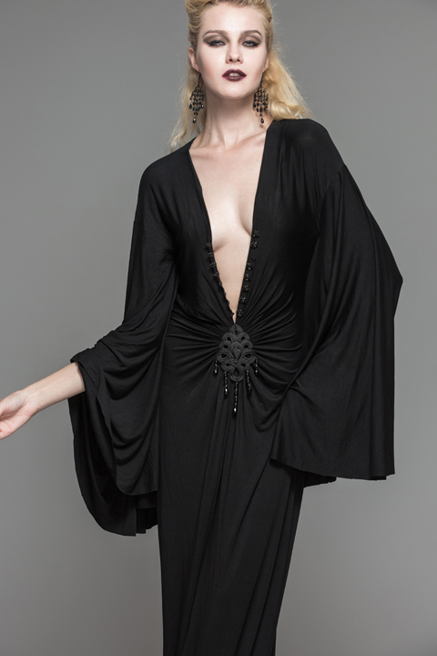 Visual Doux Steampunk Sexy Plus Kei Mode Étage De Femmes V Profonde Long Goth Noir 2017 Dress Diable longueur Stretch ZRvfWzn8