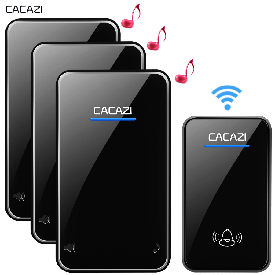 CACAZI New Wireless Doorbell Waterproof 300M Remote EU AU UK US Plug Door Bell Chime 110V 220V battery 1 transmitter 3 receiver cacazi ac 110 220v wireless doorbell 1 transmitter 6 receivers eu us uk plug 300m remote door bell 3 volume 38 rings door chime