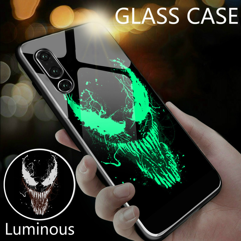 Coque Marvel Venom Luminous Glass Phone Case For Huawei P30 P20 Pro Lite P10 Plus Honor 10 9 9X 8X i Iron Man Batman Cover Funda-in Fitted Cases from Cellphones & Telecommunications