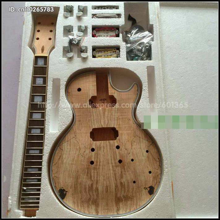 DIY Electric Guitar Kit Set-In Solid Mahogany Body Neck Flamed Maple Veneer HY004-04 white tiger pattern 3a grade maple veneer lp style electric guitar diy kit african mahogany okoume body neck rosewood fretboard