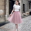 Fashion Womens Puffy Midi Tulle Skirt Wedding Accessories Tutu Skirt Bridal Use Petticoat Knee Length 6 Layers Multi Color PT01