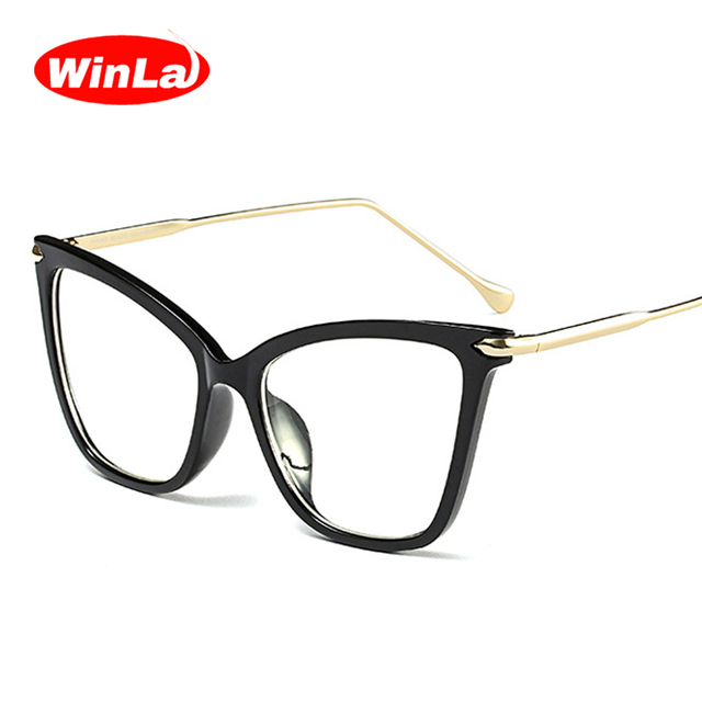 327b9a4e6423 Winla Fashion Design Women Plain Glasses Classic Vintage Frame Cat Eye Style  Clear Lens Alloy Legs Reading Glasses Female WL1146