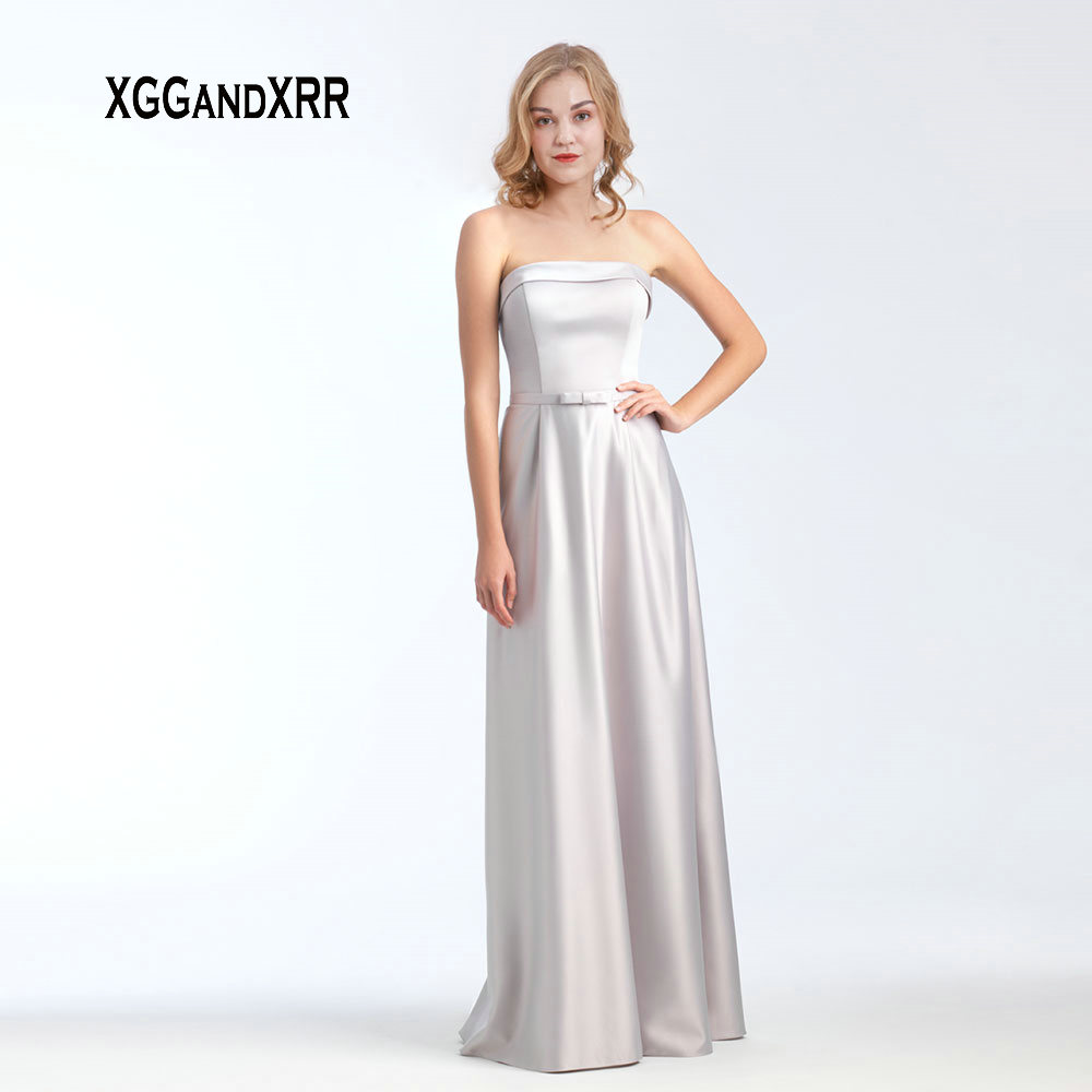 Simple Matte Satin A Line Long   Bridesmaid     Dress   2019 Strapless Backless Bow Formal Prom   Dress   Wedding Party Bride Side   Dress
