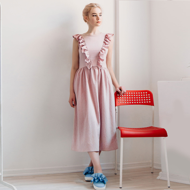 2018 Ruffle Spring Dresses Sleeveless Front Ruffle A-line Mid-Calf High Waist  Solid Causal O-Neck Women Dresses Vestidos