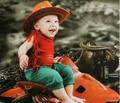 2016 venta Caliente Nueva primavera de bebé infant toddler niños traje ropa 3 unids Ropa sombrero de vaquero Pantalones Cosplay ropa De Halloween