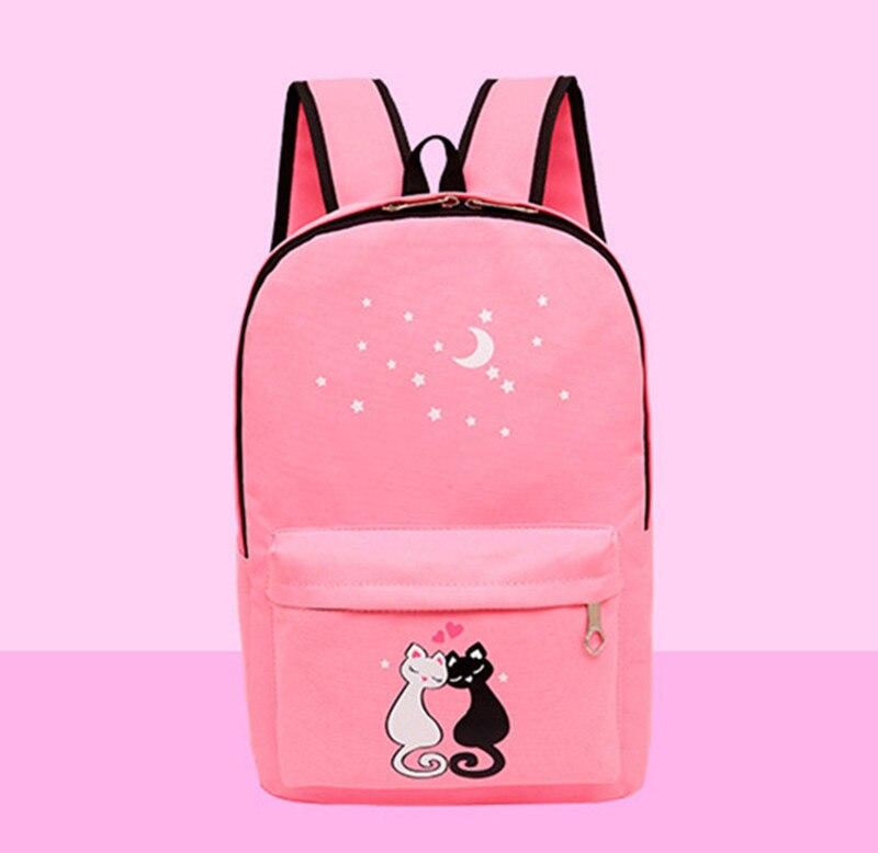 4pcs/set Women Backpack Cat Printing Canvas School Bags For Teenager Girls Preppy Style Rucksack Cute Book Bag Mochila Feminina #4