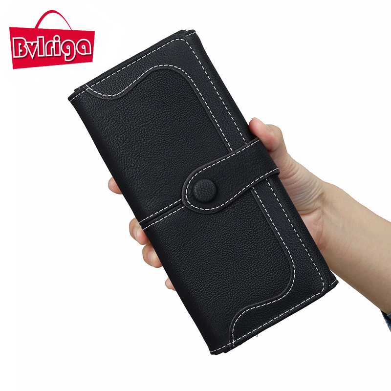 BVLRIGA Big Leather Female Purse Wallet Women Luxury Brand Famous Clutch Money Bag Card Holder Coin Phone Purse long Black Walet