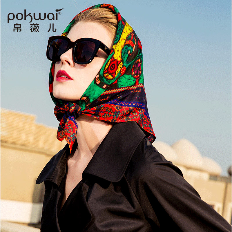 POKWAI 100% Silk Vintage Women Scarf 2018 High Fashion 65cm*65cm Print Scarves