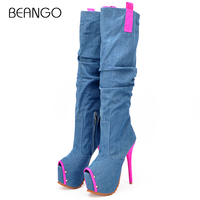 BEANGO Autumn Summer New Fashion Women Platform Knee High Boots Sexy Super High Heel 16cm Denim