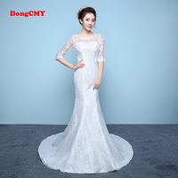 DongCMY Long White Color Mermaid Bandage Trailing Chapel Train Wedding Gown