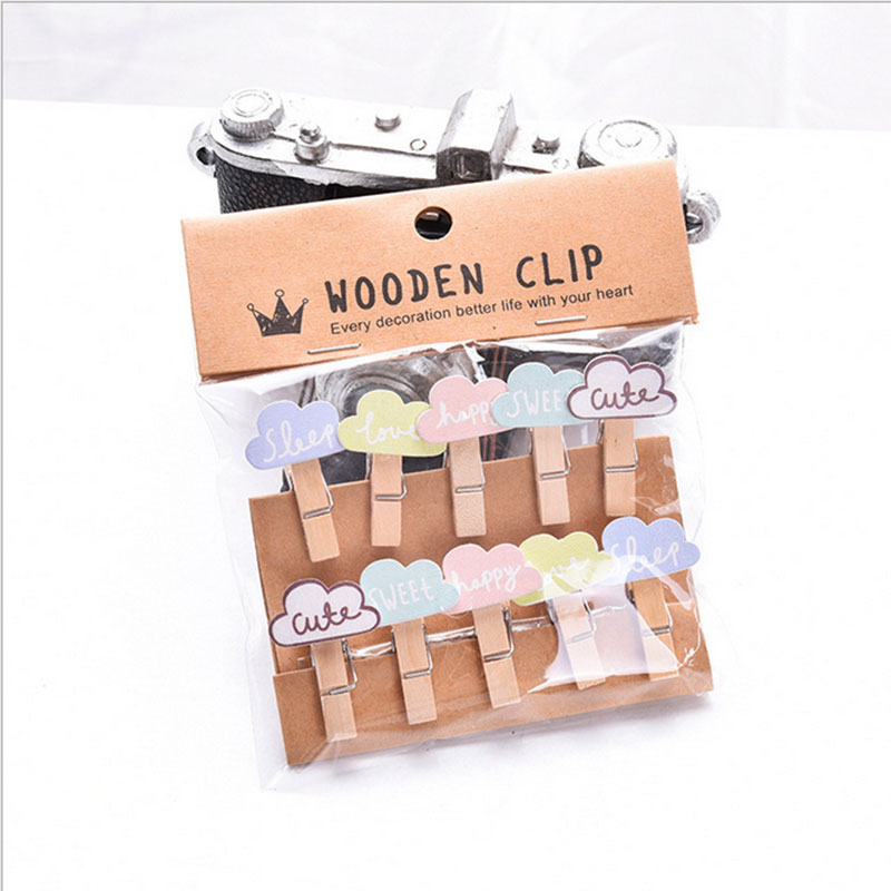 10pcs bag cute mini clouds cartoon spring wood clips for Decoration clips