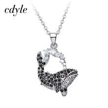 Cdyle cristales de Swarovski colgantes collares mujeres Rhinestone austríaco delfín negro regalo del Día de San Valentín joyería Bijous