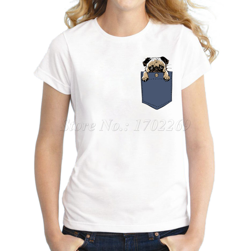New 2016 fashion pug in pocket design women t shirt for Pocket t shirt printing