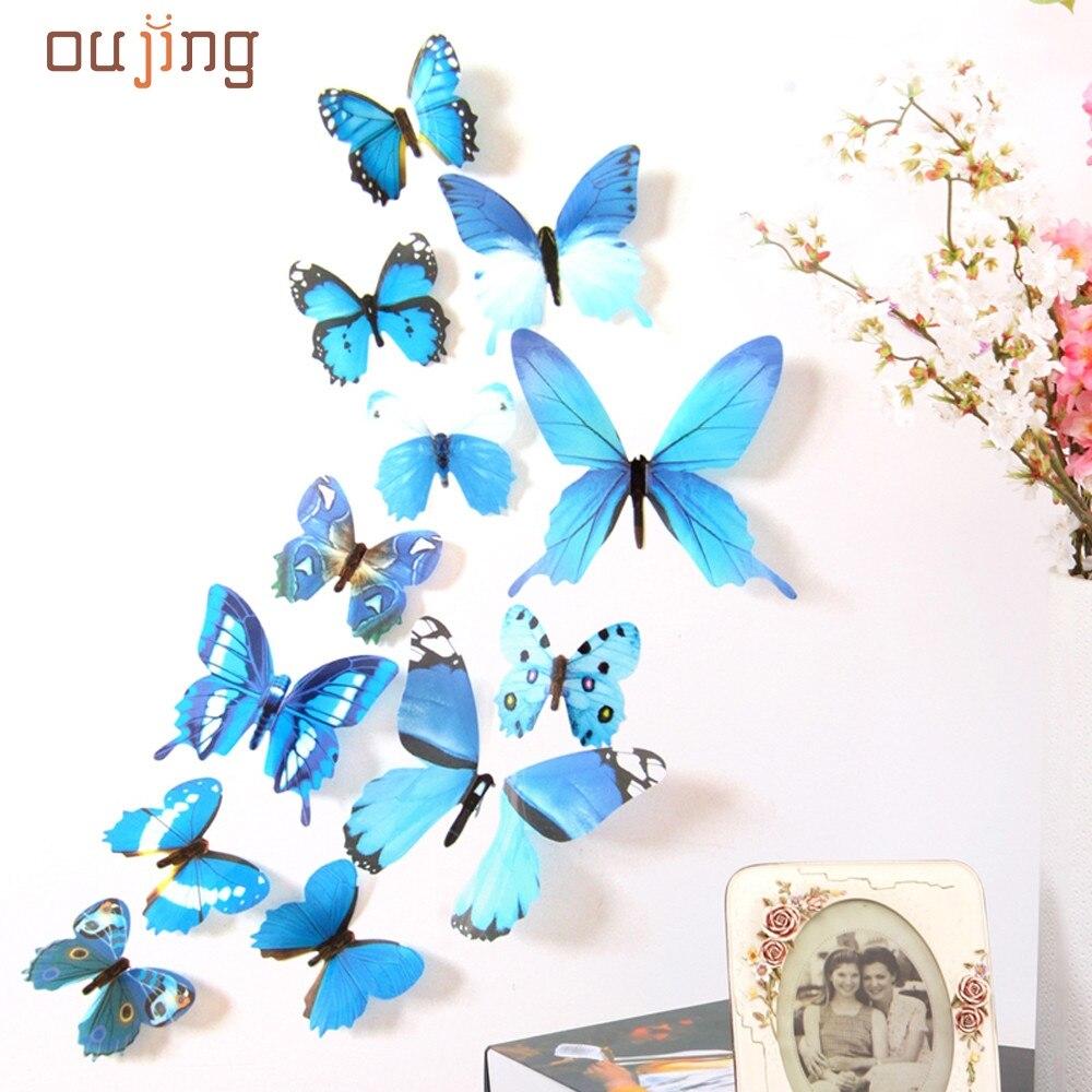 3d diy etiqueta de la pared pegatinas mariposa decoración decoración del salón n