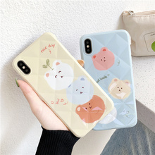 Korean lucky cartoon case phone for iphone7 8plus xs max xr glossy lattice grid animal cute cover for iphone 7 6s 6 8 plus x xs цена и фото