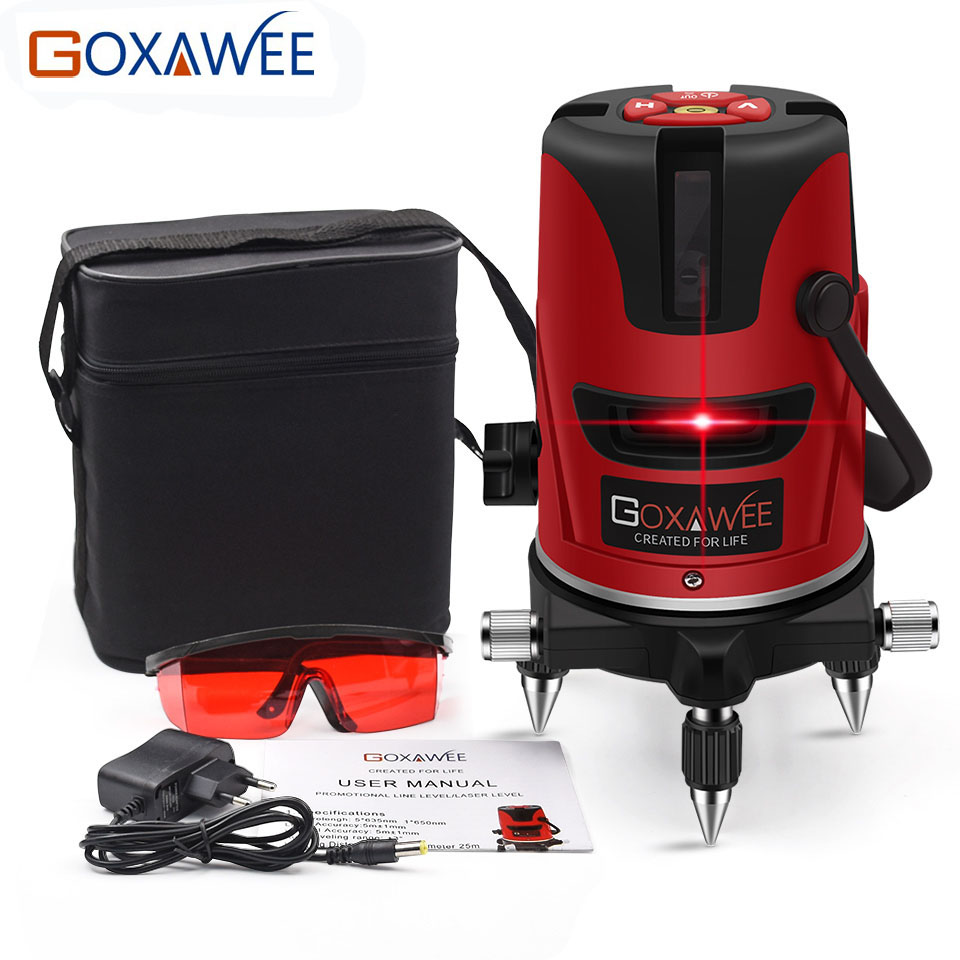 GOXAWEE 360 Degree Red Green Laser Level 5 Lines 6 Points Vertical & Horizontal Rotary Laser Level Self Leveling Measuring Tools