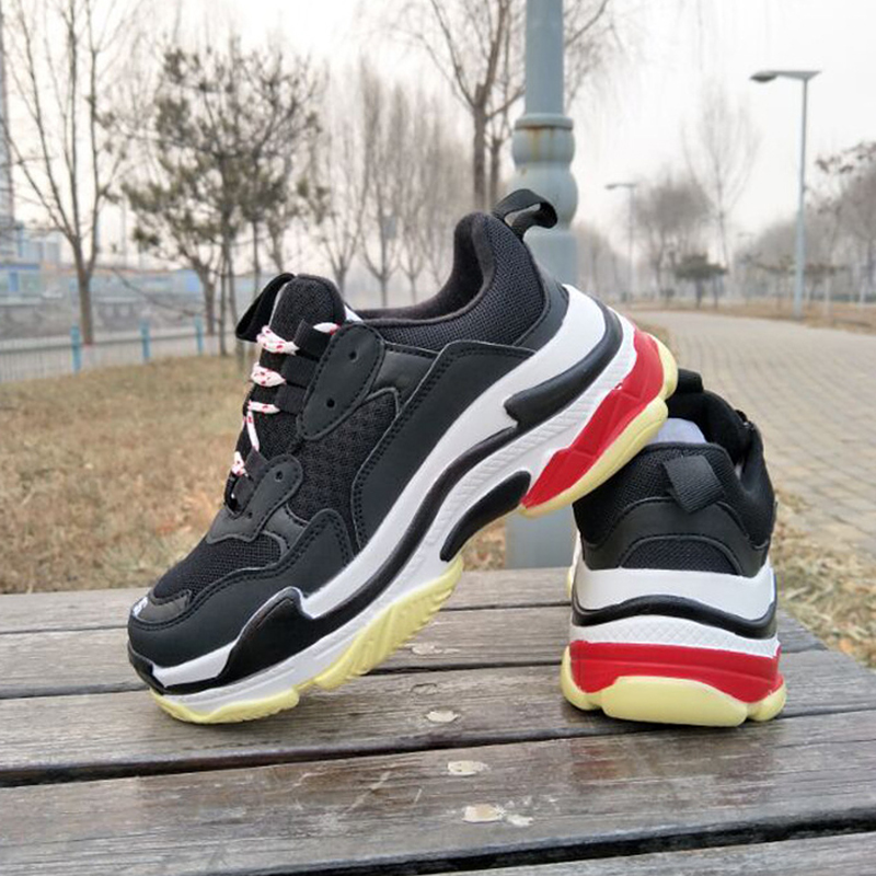 2019 Sneakers Shoes Women Platform Dad Shoes Sneakers Adults Shoes Fashionable Flat Platform Mixed Color Thick Bottom