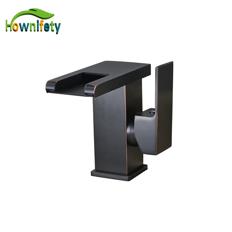 Elegant Blackened Led Light Bathroom Sink Faucet Waterfall Square Hot and Cold Water Mixer Tap Deck Mount Basin Faucet gappo water tap bathroom deck mount basin sink faucet torneira cold hot water mixer tap grifo bathroom faucet in hand shower set