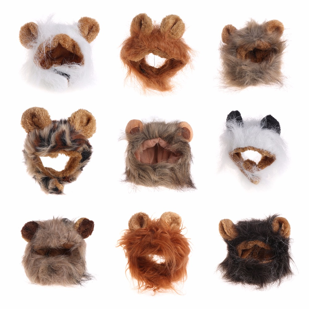 New Pet Hat Costume Cosplay Cat Lions Mane Wig Cute Dog Cap Hat Xmas Dress With Ears Cat Dog Rabbit Head Ornament C42