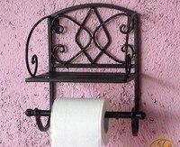 Wrought iron towel rack bathroom shelf wall rack roll holder
