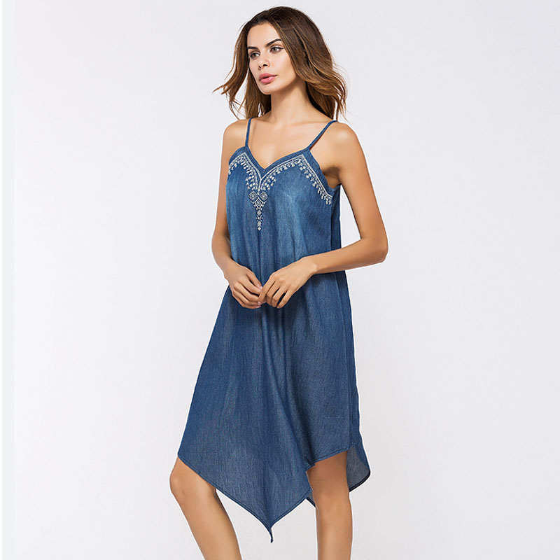 869b867c6e4 Zioksy 2017 New Summer Spaghetti Strap Denim Dress Embroidery Women Ladies  Casual Vintage Asymmetrical Jeans Dresses-in Dresses from Women s Clothing  on ...