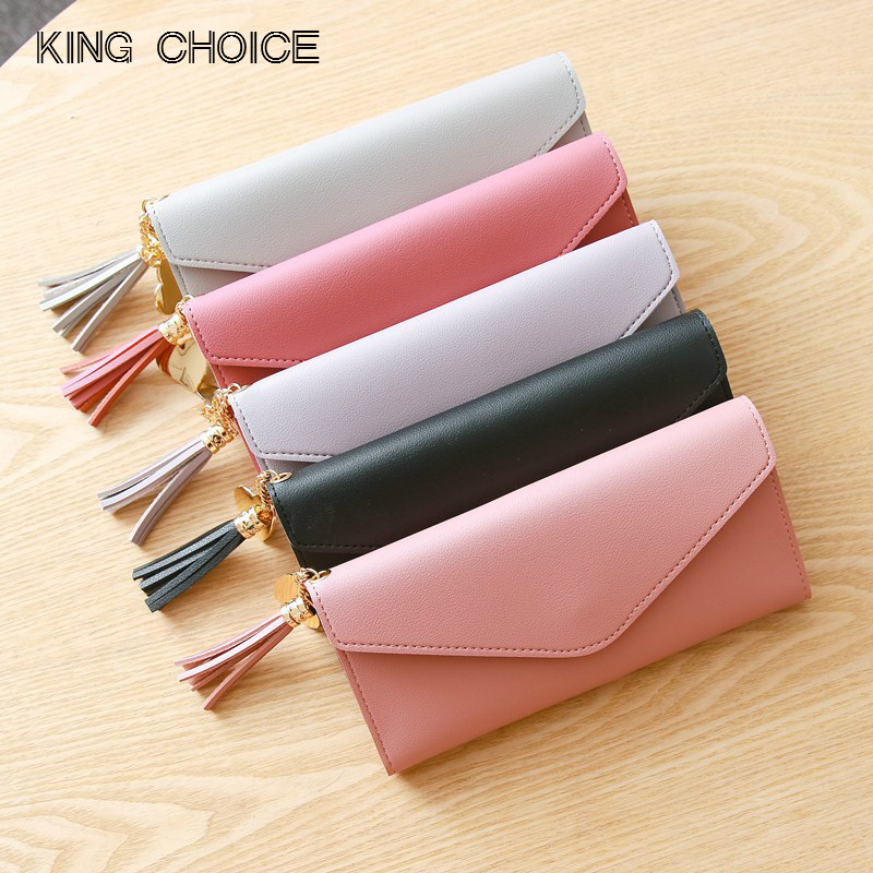 Long Wallet Women Purses Tassel Fashion Coin Purse Card Holder Wallets Female High Quality Clutch Money Bag PU Leather Wallet new high quality fashion brand leather women wallets long thin ladies coin purse cards holder clutch bag magic wallet female