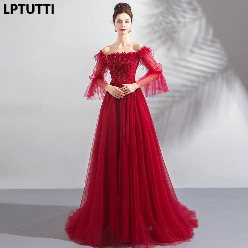 LPTUTTI Feather Beading Lace New For Women Elegant Date Ceremony Party Prom Gown Formal Gala Events Luxury Long Evening Dress
