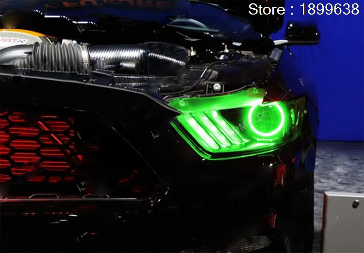 For Ford Mustang Rgb Led Headlight Halo Angel Eyes Kit Car Styling