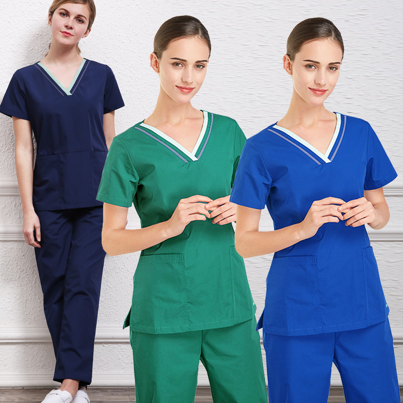 Women's Scrubs Set Color Blocking Design V-neck Short Sleeves Top + A Pair Of  Pants Doctor Costume Medical Uniforms Pure Cotton