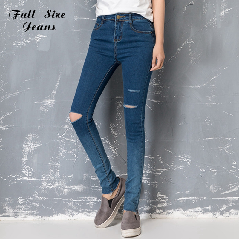ФОТО High Waist Stretch Gradient Color Denim Jeans Capris Hole Ripped Knee Plus Size Slim Ripped Skinny Pencil Pants Femme 6XL XS 4XL