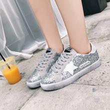 2018 Yeni Kadın Ayakkabı Glitter Deri Yapmak Eski Kirli Sneakers Karışık  Renk Kadın Sequins Yıldız Altın Fleeces eğitmenler a9fc0acf9af6