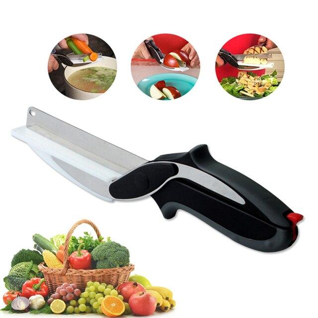 O transporte da gota smart 2 em 1 cortador knife & placa de queijo vegetal Fatiadoras cortador de Carne de aço inoxidável tesoura de cozinha Faca