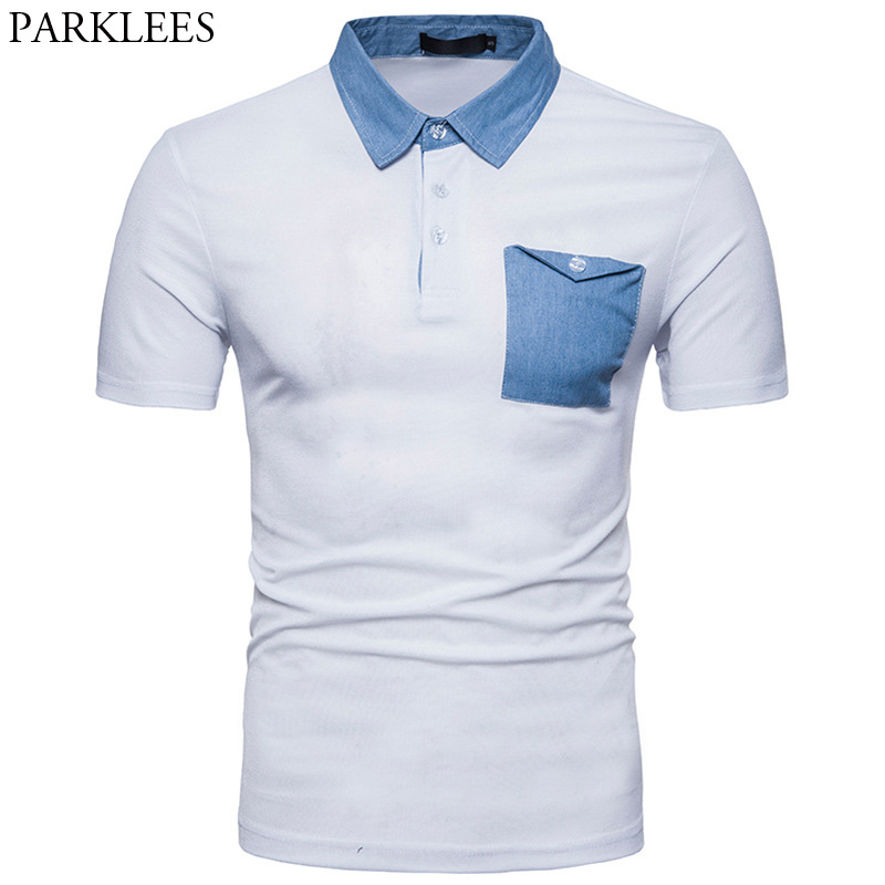 Brand   Polo   Shirt Men 2018 Summer Short Sleeve   Polo   Homme Casual Slim Fit Denim Mens   Polos   with Pocket Breathable White   Polos   XXL