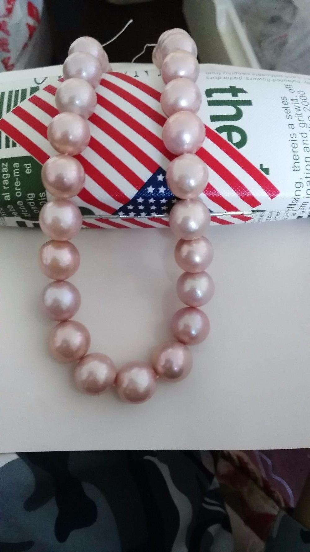 10-11 mm Genuine Natural south sea pink pearl necklace 18  14 K gold hosseini k sea prayer