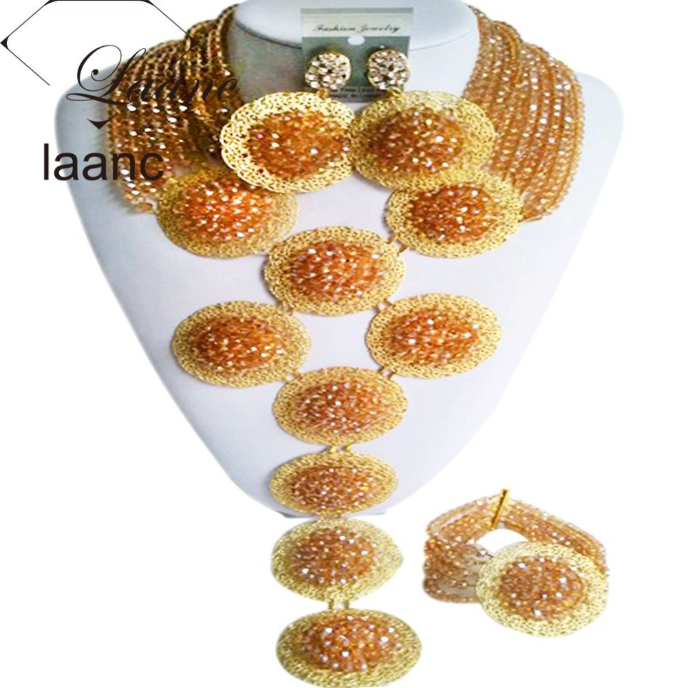 New Gold AB African Beads Bridal Jewelry Set Nigerian Wedding Beaded Crystal Necklace Set Free Shipping ABF445New Gold AB African Beads Bridal Jewelry Set Nigerian Wedding Beaded Crystal Necklace Set Free Shipping ABF445