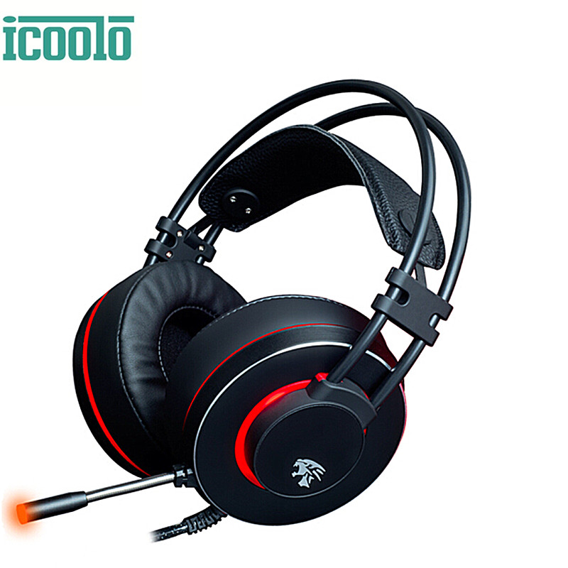Icoolo Gaming Headphones Virtual 7 1 Surround Stereo Sound Gamer Headsets With Led Over Ear Headphone With Mic For Pc Mac Laptop Headphone Headset Aliexpress